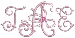 three letter monogram machine embroidery design perfect for wedding monograms!