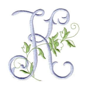 K Letter In Rose k machine embroidery design