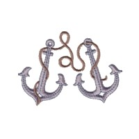 two anchors and rope machine embroidery nautical maritime seaside beach sea swimming fishing design art pes hus dst needle passion embroidery npe