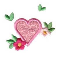 heart shaped applique with leaves and a flower love heart valentine machine embroidery design darling by needle passion embroidery