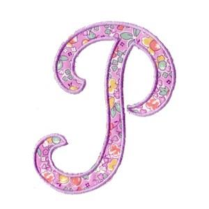 P Alphabet Design script letter alphabet in the hoop machine embroidery appliqué design ...
