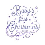 Baby's first Christmas lettering with snowflakes and swirls machine embroidery design from http://www.needlepassionembroidery.com