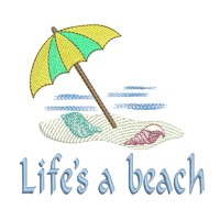 life is a beach lettering with beach umbrella machine embroidery nautical maritime seaside beach sea swimming fishing design art pes hus dst needle passion embroidery npe