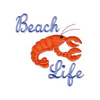 crayfish lobster beach life lettering machine embroidery nautical maritime seaside beach sea swimming fishing design art pes hus dst needle passion embroidery npe