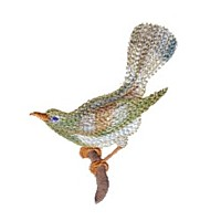 needle passion machine embroidery design bird perching on a branch for variegated thread
