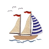 saling boat machine embroidery nautical maritime seaside beach sea swimming fishing design art pes hus dst needle passion embroidery npe