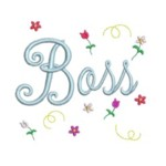 Boss script lettering with tiny flowers machine embroidery design from http://www.needlepassionembroidery.com