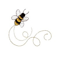 bumble bee critter insect machine embroidery design swirl swirly trail swirls cute bug needle passion embroidery needlepassion npe bernina artista art pes hus jef dst designs