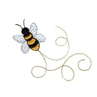 machine embroidery design bumble bee with swirly tails swirl swirls npe needle passion embroidery