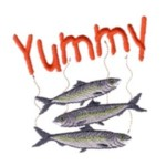 yummy smelly fish machine embroidery design feline art pes hus dst needle passion embroidery npe