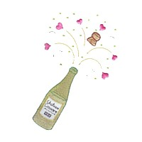 machine embroidery design champagne bottle cork hearts love wedding heart party relatives art pes hus dst needle passion embroidery npe