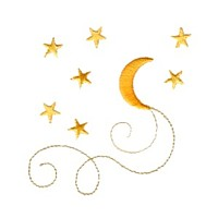 machine embroidery design moon stars celestial with swirls