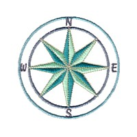 compass machine embroidery nautical maritime seaside beach sea swimming fishing design art pes hus dst needle passion embroidery npe