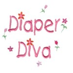 Diaper Diva lettering with tiny flowers machine embroidery design from http://www.needlepassionembroidery.com