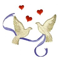 dove doves bird machine embroidery design for variegated thread, multi-coloured, multi-color, multi-colour, colour changing thread