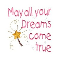 may all your dreams come true lettering machine embroidery fairy dust girls magic stuff confetti lettering design art pes hus dst needle passion embroidery npe