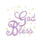 god bless lettering machine embroidery religious christian cross religion jesus god design art pes hus dst needle passion embroidery npe