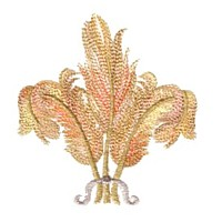 prince of wales' triple feather plume machine embroidery design variegated multicolored multicoloured thread