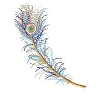 peacock feather for variegated thread multicoloured multicoloured machine embroidery feather plume in flight air floating stitched with variegated thread from needlepassion needle passion embroidery npe sulka fjader