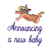 cherub announcing a new baby machine embroidery art pes hus dst needle passion embroidery npe