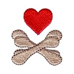 Heart scull and bones machine embroidery design from http://www.needlepassionembroidery.com