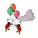 ladybugs being carried away by balloons cloud machine embroidery design