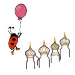 ladybug flying over moscow russia machine embroidery design