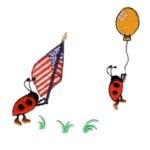patriotic ladybug american flag hanging onto a balloon flying away ladybird machine embroidery design