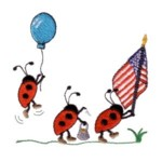 patriotic ladybugs balloon american flag machine embroidery design march