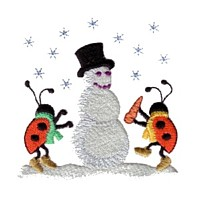 machine embroidery design ladybug ladybird snowman carrot nose snowing insect animal winter snow fun art pes hus dst needle passion embroidery npe