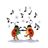 machine embroidery design ladybug ladybird musical notes singing playing music insect animal winter snow fun art pes hus dst needle passion embroidery npe