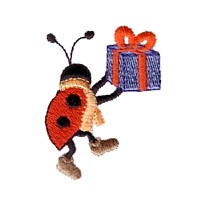 machine embroidery design ladybug ladybird insect animal present gift winter snow fun art pes hus dst needle passion embroidery npe