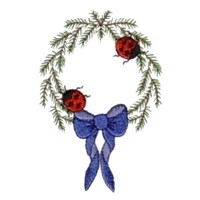 machine embroidery design ladybug ladybird pine garland wreath insect animal winter snow fun art pes hus dst needle passion embroidery npe