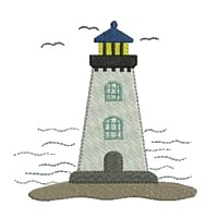light house machine embroidery nautical maritime seaside beach sea swimming fishing design art pes hus dst needle passion embroidery npe