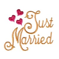 just married script lettering machine embroidery design love wedding heart party relatives art pes hus dst needle passion embroidery npe