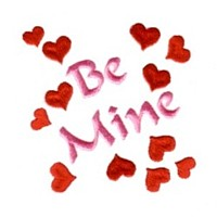 be mine retro letetring with hearts love heart valentine machine embroidery design darling by needle passion embroidery
