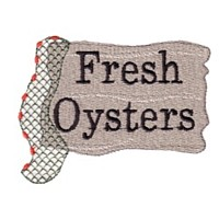fresh oysters sign and fishing net fish net machine embroidery nautical maritime seaside beach sea swimming fishing design art pes hus dst needle passion embroidery npe