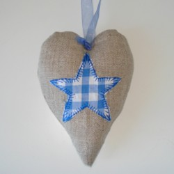 star applique padded heart hanging ornament made in the machine embroidery hoop lavender filled linen heart needle passion embroidery npe