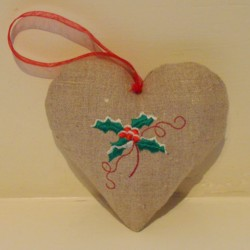 holly padded heart hanging ornament made in the machine embroidery hoop lavender filled linen heart needle passion embroidery npe