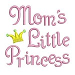 mom's little princess whimsical machine embroidery design girl girls rule diva girly queen crown confetti lettering text slogan art pes hus dst needle passion embroidery npe