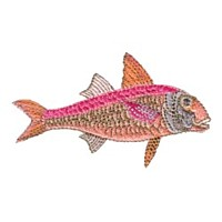 red mullet fish machine embroidery nautical maritime seaside beach sea swimming fishing design art pes hus dst needle passion embroidery npe