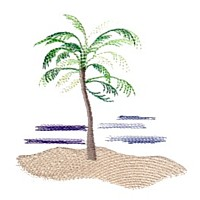 free beach scene with palm tree sample for machine embroidery from Needle Passion Embroidery