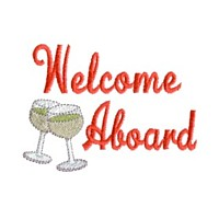 welcome abroad lettering with wine glasses machine embroidery nautical maritime seaside beach sea swimming fishing design art pes hus dst needle passion embroidery npe