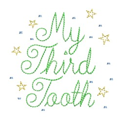 my third tooth lettering machine embroidery design