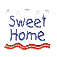 sweet home lettering text machine embroidery design america usa patriotic red blue white stripes 4th july fourth of july independence day art pes hus dst needle passion embroidery npe