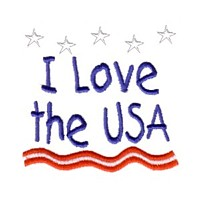 i love the usa lettering text machine embroidery design america usa patriotic red blue white stripes 4th july fourth of july independence day art pes hus dst needle passion embroidery npe