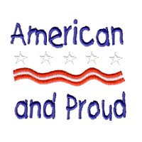 american and proud lettering text machine embroidery design america usa patriotic red blue white stripes 4th july fourth of july independence day art pes hus dst needle passion embroidery npe
