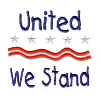 united we stand lettering text machine embroidery design america usa patriotic red blue white stripes 4th july fourth of july independence day art pes hus dst needle passion embroidery npe