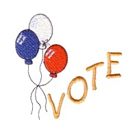 vote election text lettering with balloons machine embroidery design america usa patriotic red blue white stripes 4th july fourth of july independence day art pes hus dst needle passion embroidery npe