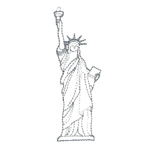 All about usa patriotic machine embroidery designs for Statue of liberty drawing template